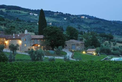 The Estate of Petroio with Staff and Cook - Il Borgo di Petroio illuminated at night.