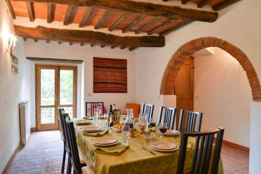 Val di Castello - Lower Ground Floor/East wing, down 16 terracotta steps from the first floor is the dining room