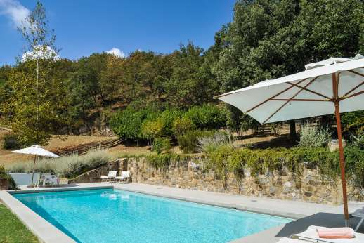 Villa al Monte - Pool terrace is furnished with ample sun loungers.