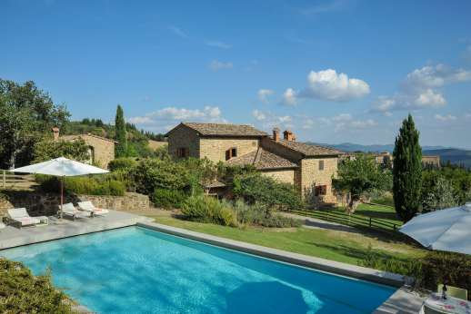 Villa al Monte - The private heated swimming pool, 6 x 12m/19 x 38 feet.