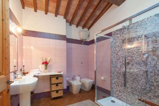 Villa Altea (x 8 people) with Staff and Cook - Down 14 wood steps is the en suite bathroom with shower.