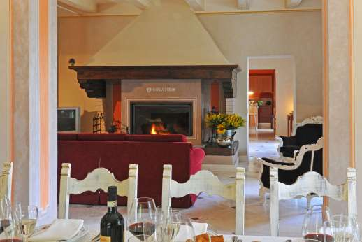 Villa Atena - Sitting room with working fireplace.