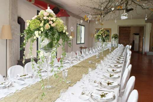 Weddings at Villa Atena - The large dining area set for the reception