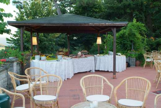 Weddings at Villa Atena - Serving area of cured meats, wines and other delicious foods