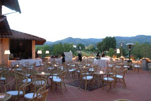 Weddings at Villa Atena - The terrace set for seating and dining