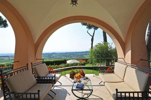 Villa delle Lance - A second loggia with seating area.