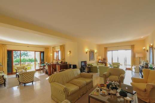Villa delle Lance - Ground floor, large sitting room with a fireplace.