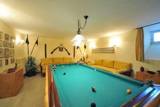 Villa delle Lance - Billiard room on the lower ground floor.