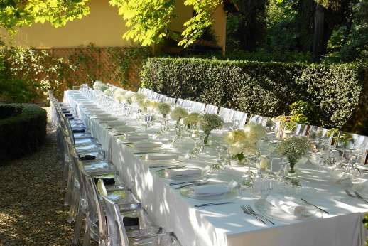 Weddings at Villa Di Masseto - A reception dinner can be arranged with seating under the gazebo for to 40 guests, overlooking the gardens and breathtaking views.