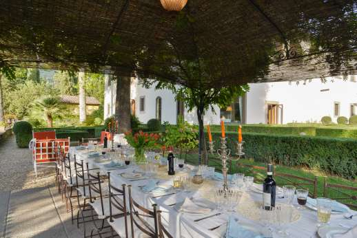 Weddings at Villa Di Masseto - Outside dining area isn't far from the villa