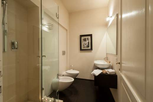 Weddings at Villa Di Masseto - Bathroom with shower.