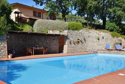 Villa Doveri - The swimming pool, 7 x 14m/23 x 46 feet, sits on a terrace below the main villa.
