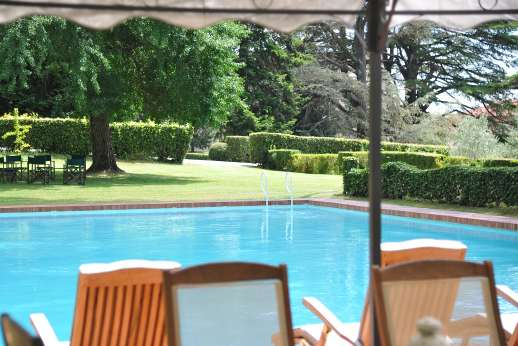 Weddings at Villa Lungomonte - The swimming pool, 10 x 20m/32 x 64 feet, is set about 50m/yards from the house across level lawns.