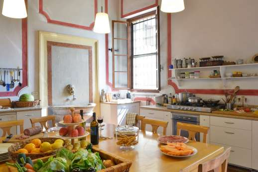 Villa Zambonina - Another view of the large kitchen - have a cook prepare your meals for you upon request.