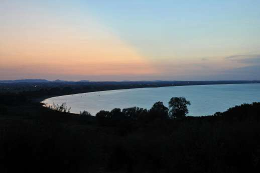 Visentium - View from the garden, sunset over Lake Trasimeno.