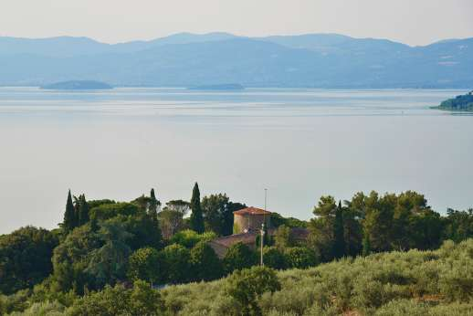 Visentium - Visentium in the foreground with Lake Trasimeno in the background.