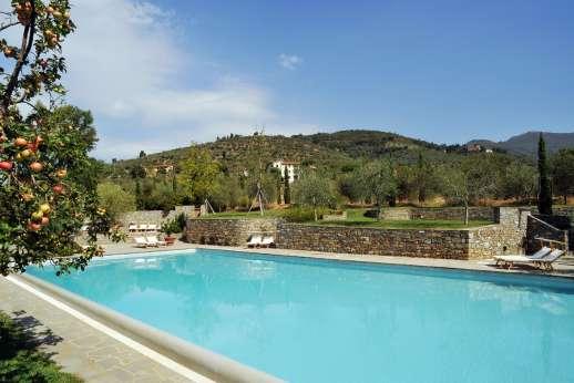 Villa La Leccina Casamora - The shared pool set on a terrace facing the Pratomagno mountains.