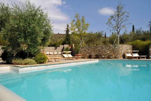 Il Noce Casamora - The shared pool set on a terrace facing the Pratomagno mountains.