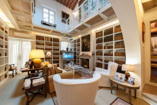 Villa Dasya - Air-conditioned library with TV and fireplace.