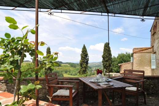 The Estate of Casa Vecchia - A terrace at the back of the house offers stunning views.