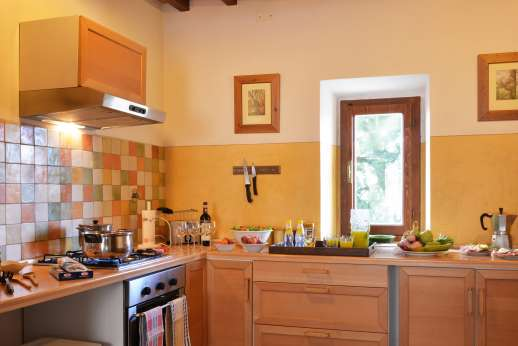 The Estate of Casa Vecchia - The large well equipped kitchen on the ground floor.
