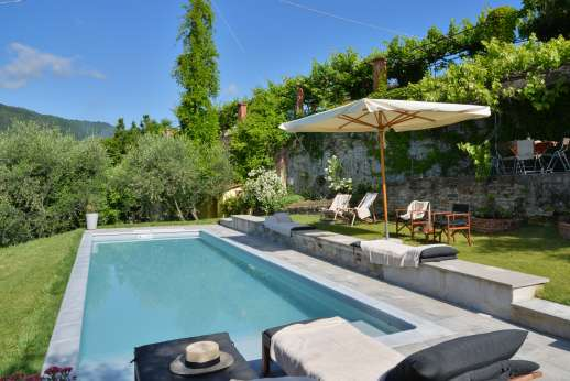 Villa le Cipressae - The private swimming pool, 10 x 3m/33 x 10 feet, has a costatnt depth of 1.25m/4 feet and wide confortable steps for entry/exit.