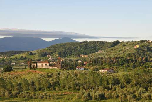 Villa le Cipressae - View from the villa over the olive groves to the Tuscan mountains