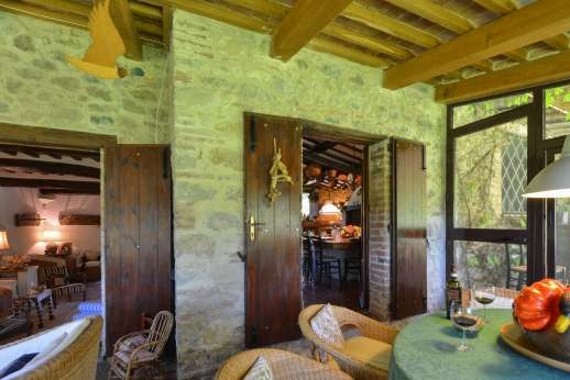 Podere Uccella - veranda leading though to the kitchen