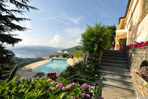 Bellaria - The villa is on a upper terrace and leading down to the lower pool terrace via stone steps