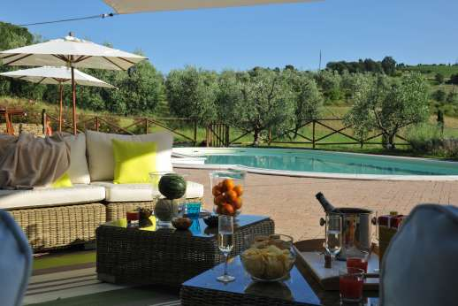Villa Ostignano - The pool enjoying beautiful views of the nearby town and of the countryside.