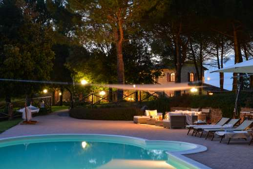 Weddings at Villa Ostignano - The swimming pool, 13 x 6m/43 x 20 feet, is set about 60m/200 feet with shaded lounge area close to it