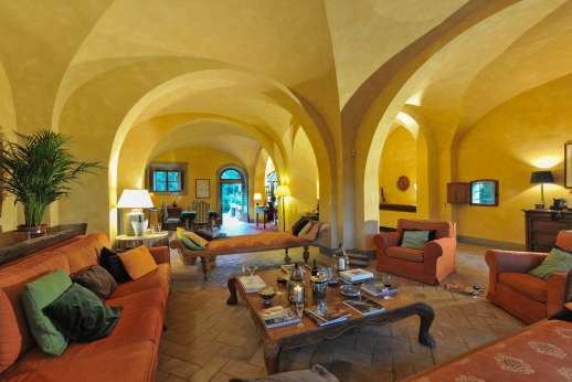 Poggio Ai Grilli - Ground floor huge living room with fireplace, sofas and various sitting areas
