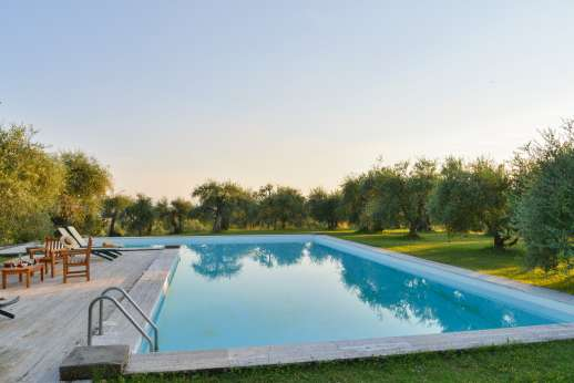 Poggio di Artemis - The private L-shaped swimming pool, 10 x 10 meters/ 33 x 33 feet, has a constant depth of 1,80 m/6 feet and ladder for entry/exit.