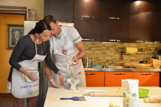 Villa Denise (x 8 people) with Staff and Cook - Guests enjoying a pasta making lesson!