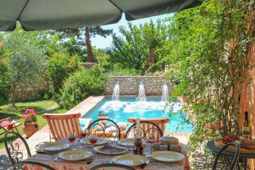 Casa del Poggio - The heated swimming pool, 3 x 6m/10 x 20 feet, set west facing in a beautifully laid out small garden.
