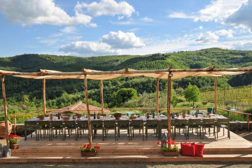 Weddings at The Estate of Petroio - Large outside dining area