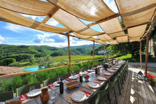 The Estate of Petroio with Staff and Cook - Beautiful views form the outside dining area