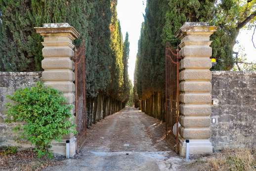 Villa Caprolo - The wrought iron gates lead down the cypress lined driveway to the main house