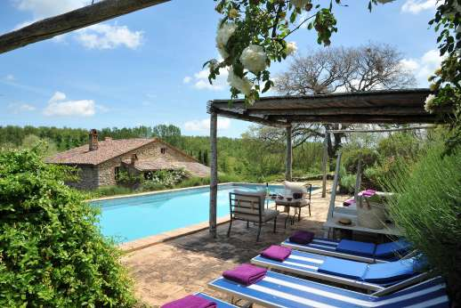 The Rose Barn - The swimming pool, 5 x 15m/16 x 49 feet, is a few steps above the house on a terrace with a pergola.