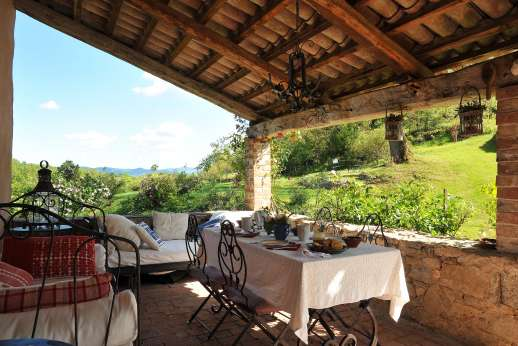 The Rose Barn - The dining loggia with views.