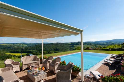 San Leolino (x 10 people) with Staff and Cook - The pool reflecting the blue Tuscan sky and the view of the rolling hills of San Gimignano