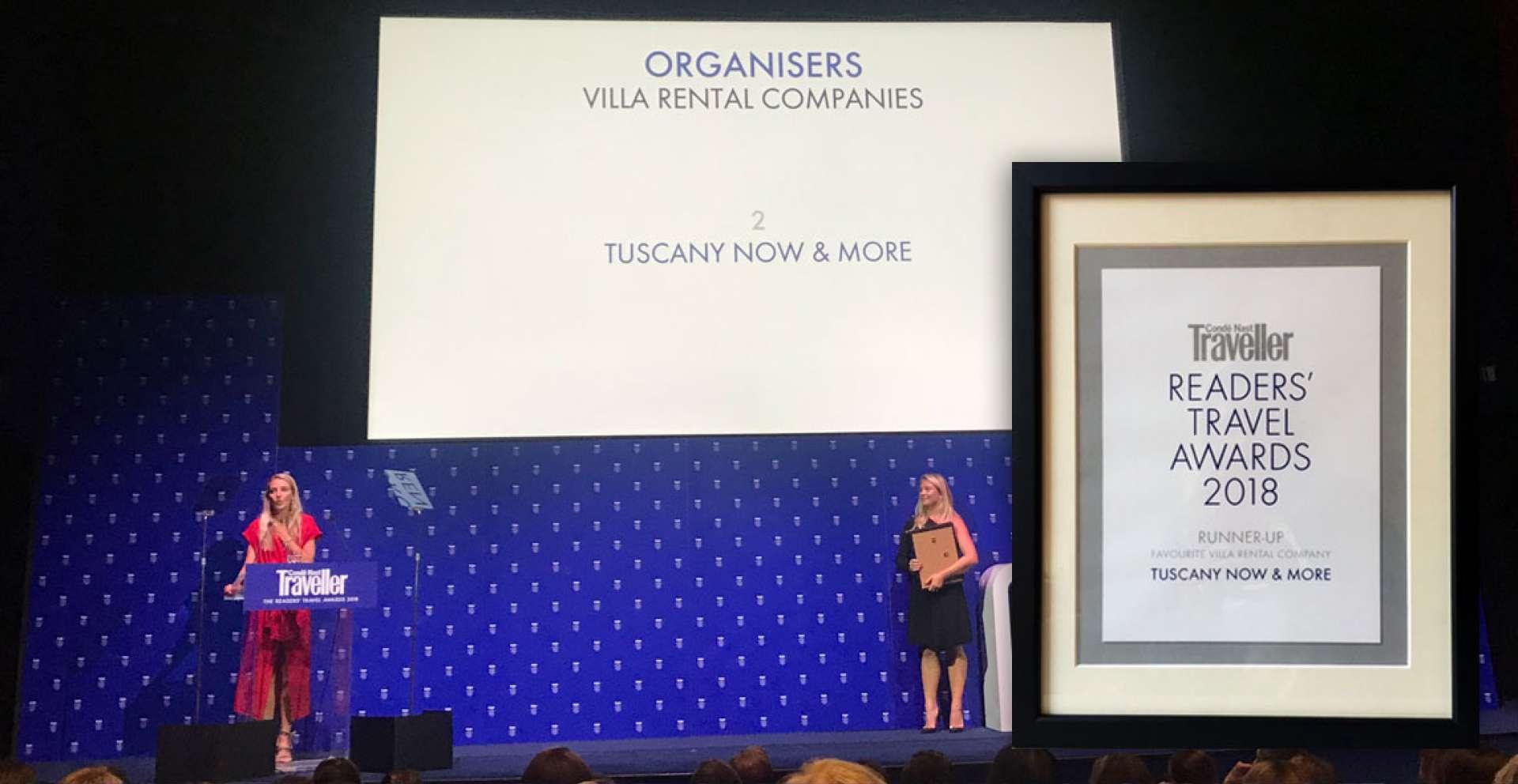 Condé Nast Travel Awards 2018: Tuscany Now and More officially Tuscany's top villa company